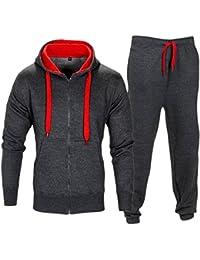 6306cfcbaef Love My Fashions Mens Tracksuit Set New Contrast Cord Fleece Hoodie Top  Bottoms Jogging Zip Joggers Gym Sport Sweat Suit Pants…