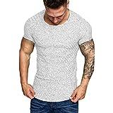 Tyoby Herren T-Shirt Übergröße Slim-Fit Rundhalsausschnitt Basic Fitness-Top Sommer Sport-T-Shirt...