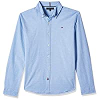 Tommy Hilfiger Boy's Mini Print Long Sleeve Shirt, Blue (Shirt Blue 474), 12