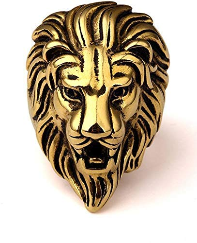 StoresHub Stainless Steel Roaring Lion Head Unique Design Ring for Men and Boys In Golden & Silver Colors (Golden)
