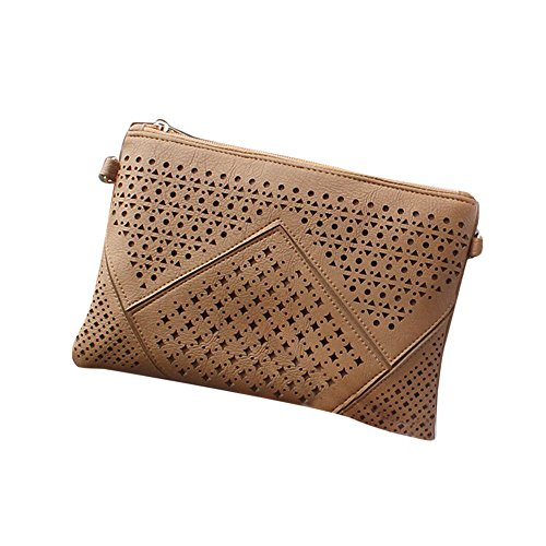 Longra La borsa di cuoio delle donne Hollow della borsa Marrone