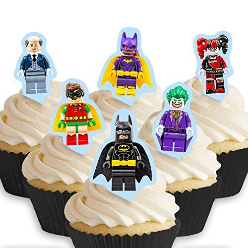 12 x Vorgeschnittene und Essbare Lego Batman Movie Kuchen Topper (Tortenaufleger, Bedruckte Oblaten, Oblatenaufleger)