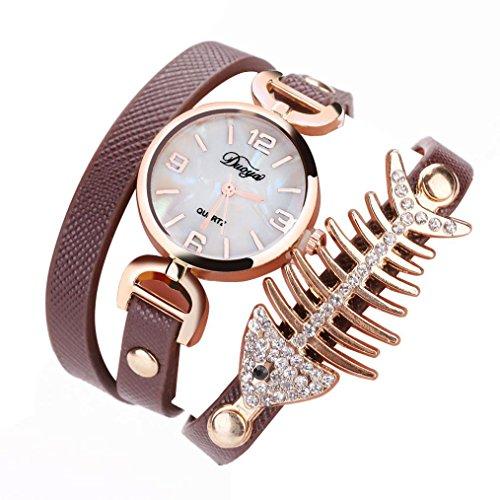 1 PC Damen Fisch Spezial Knochen Wicklung Analog Quartz Bewegung Armbanduhr Armband von CICIYONER (Braun)