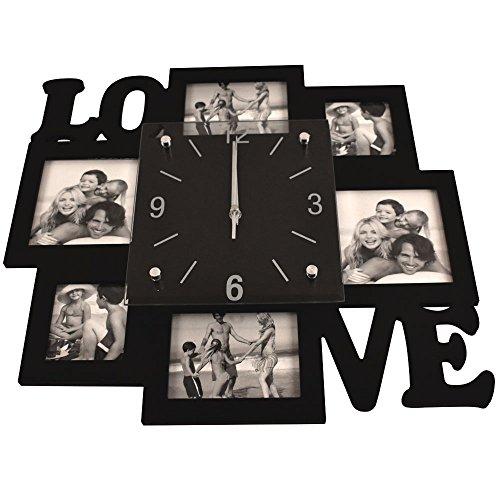 Foto Wand Uhr Analog Zeit Anzeige silber schwarz Schriftzug Love Wohn Raum Bilder Deko BHP B991742