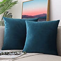 "CCRoom Cushion Covers,Pack 2 of Decorative Throw Pillow Covers in Velvet Square Cushion Cases with Concealed Zip 18"" x 18"" 45cm x 45cm(Peacock Blue)"
