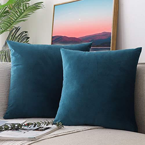 Ccroom fodera per cuscino divano in quadrate velluto,45x45cm cuscini decorativo caso con cerniera nascosta 2 pack(blu pavone)