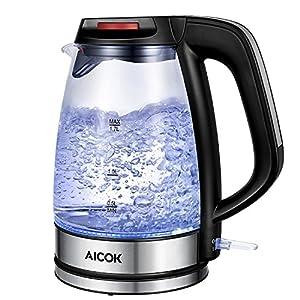 calentador de agua: Aicok Hervidor de Cristal, 1.7 L Hervidor de Vidrio Eléctrico con Iluminación LE...