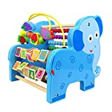 Aideal Wooden Bead Maze Toy Animal & Number Blocks Roller Toy and Abacus Early Activity Play Center for Kids Toddlers