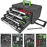TecTake Maletín con herramientas 300pc piezas maleta trolley caja martillo alicates con 4...