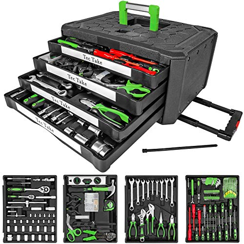 TecTake Maletín con herramientas 300pc piezas maleta trolley caja martillo alicates con 4 cajones