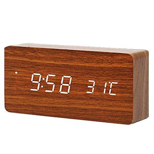 Queta LED-Wecker aus Holz, digital, Wecker, Tischuhr, Datum, Temperatur, Luftfeuchtigkeit, 12/24 Stunden