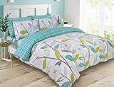 Dreamscene Luxurious Allium Duvet Set with Pillowcase, Polyester/Cotton, Teal, King