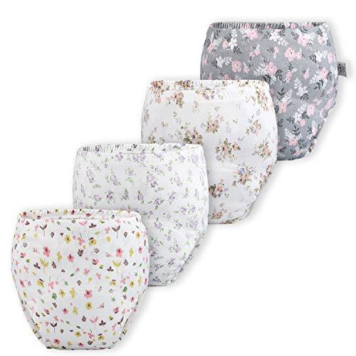 Baby Mädchen Trainerhosen Unterwäsche Windelhose Töpfchen Floral, 4er Pack, Mädchen, 2T (Herstellergröße- 90)