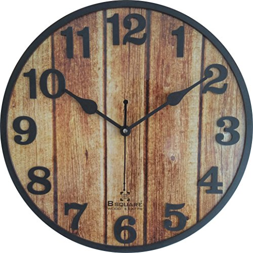 B Square 12 inches Designer Wood Wall Clock BSWC068