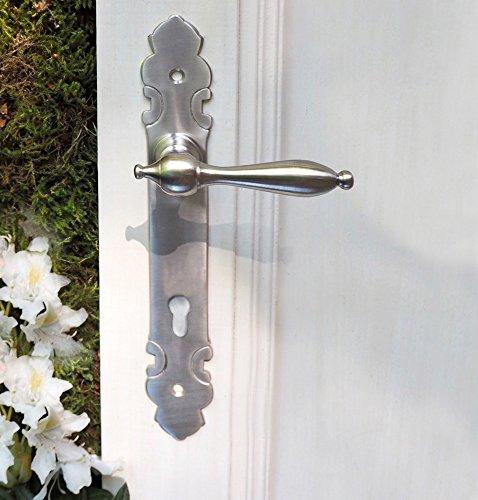 Antikas - manilla con placa exterior diseño níquel - manilla para la