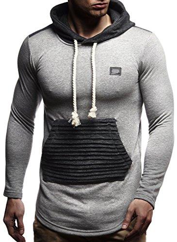 LEIF NELSON Herren Kapuzen Pullover Hoodie Sweatjacke Longsleeve Gesteppter Langarm Basic Sweatshirt T-Shirt Shirt Sweater LN8176; Größe S, Anthrazit  