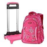 Nouveau modèle Sac à dos avec roulettes sac d`école à roulettes sac de voyage à roulettes sac de bar étudiant pour garcons filles en nylon multicolore (unique, Rose foncé)