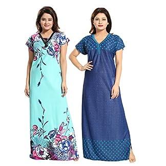 751b28389 TUCUTE Women Girls Beautiful Denim Print Polka Dott s + Baby Shades Floral  Print Nighty Night Gown Nightwear Offer (Pack of 2) XL-40 XXL-44 Smart Combo