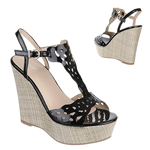 Damen Schuhe, S1804, SANDALETTEN SLIPPER BALLERINAS Schwarz