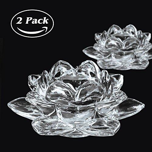 Rightwell 2 Stücke Lotus Kristall Kerzenhalter Glas Teelicht