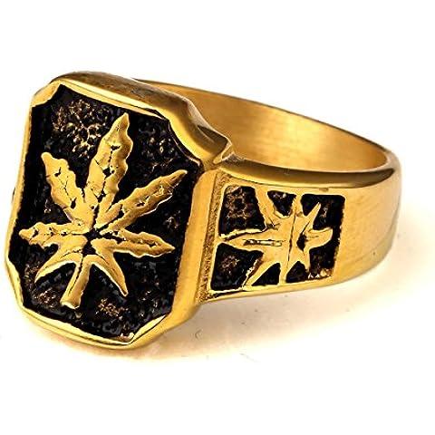 nyuk Foglia di Marijuana, design originale da uomo Hip Hop tendenza anello