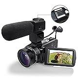 WiFI Fotocamera Videocamera, Eamplest Videocamera Full HD 1080P 30FPS 24MP 16X, Registratore Fotocamera Digitale con Microfono Esterno e Lente Grandangolare (HDV-Z20)