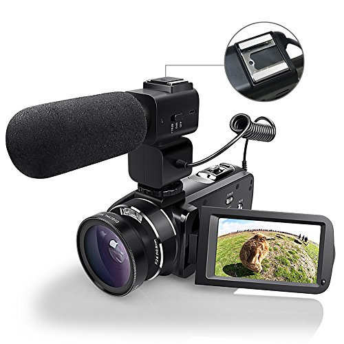 WiFI Kamera Camcorder, Eamplest Fernbedienung Handy Kamera Full HD 1080P 30FPS 24MP 16X Digital Zoom Videokamera Recorder mit externem Mikrofon, Weitwinkelobjektiv, 2 Batterien(Z20)