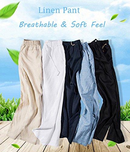 UAISI Herren Freizeit Leinen Hosen Regular fit Leicht Sommerhose Casual Schwarz Hosen Weiß