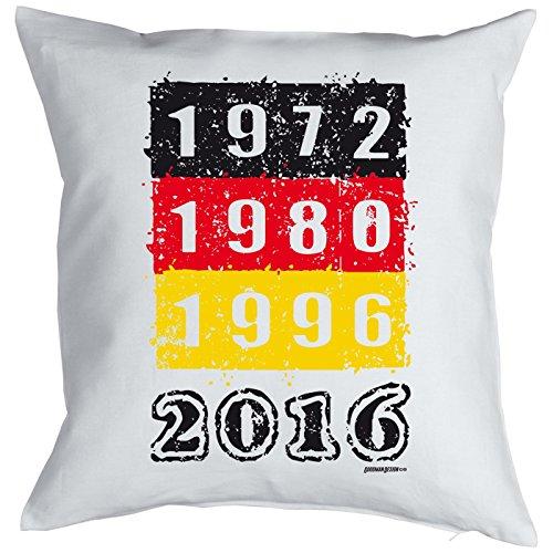 Fußball Kissen, Dekokissen zur EM komplett mit Füllung - 1972 1980 1996 2016! Europameisterschaft!