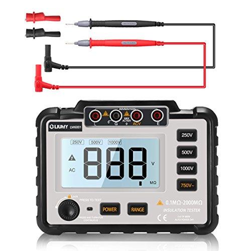 (LIUMY Isolationmessgerät/Prüfer, 250V ~ 1000V Widerstandstester mit Messleitung und Krokodilklemme)