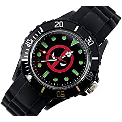TAPORT® DEADPOOL Quartz Sport Watch MARVEL Black SILICONE Band +FREE SPARE BATTERY+FREE GIFT BAG ...