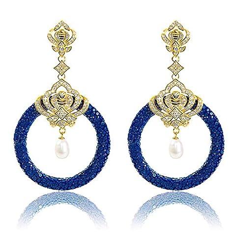 Medusa 22ct Gold Vermeil Stingray Hoop (Royal Blue & Pearl)