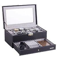 Rowling Black 12 Grids Watch Case Jewellery Storage Box Organizer Dual Layer