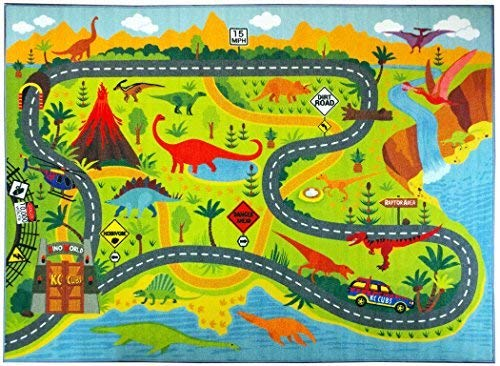 KC Cubs Playtime Collection Dinosaurio Safari Mapa de Ruta Educativo Aprendizaje y área de Juego Alfombra...