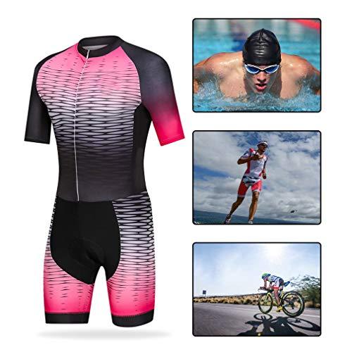 Triathlon Radsport Kurzarm Set, Herren Radtrikot Atmungsaktiv Schnell,Pink,2XL