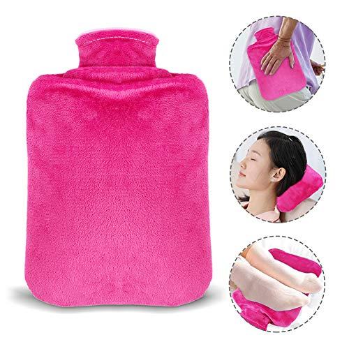 Etmury Wärmflasche, Wärmflaschen 2 Liter mit Weichem Plüsch-Bezug,Geprüft und Frei Von Schadstoffen Sicher Wärmeflaschen,Schnelle Schmerzlinderung Komfort für Bauch,Nacken