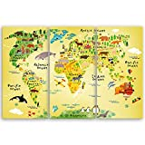 ge Bildet® hochwertiges Leinwandbild XXL - Weltkarte für Kinder - 120 x 80 cm mehrteilig (3 teilig)