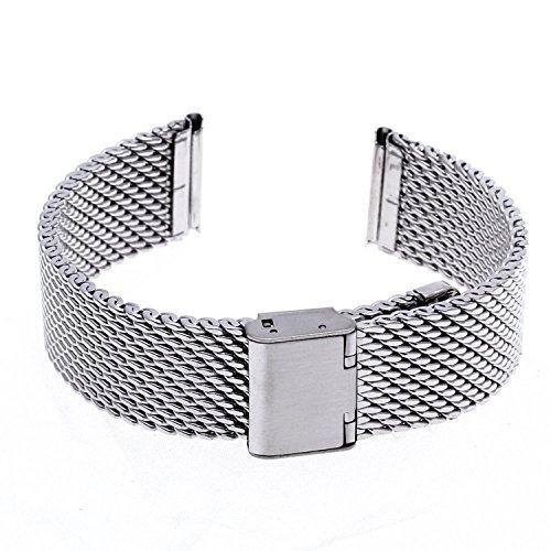 Edelstahl Metall Uhren Ersatz Riemen Armband mit Stecker für CK Citizen Longines 22mm Silber