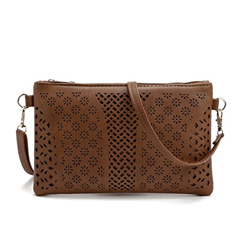 QPALZM Womens Crossbody Taschen Stickerei Loch Reißverschluss Schulter Handtasche Telefon Clutch Wallet Geldbörse A5