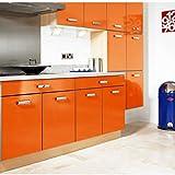 KINLO Möbelfolie Klebefolie 5M x 61cm Schrankfolie Möbel Küche Bad Schrank Dekofolie Klebe Folie Küchenfolie Selbstklebefolie - Orange