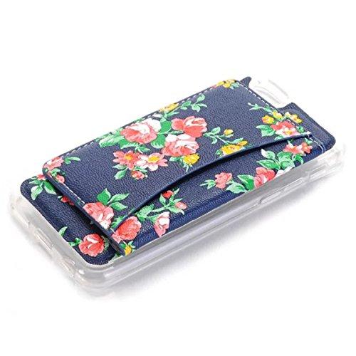 iPhone 6 Hülle, iPhone 6S Hülle, Lifeturt [ Gelbe Blume ] TPU Schutzhülle Handy Schutzhülle Silikon Tasche Ständer Hülle Case Kartenfächer mit Standfunktion für Apple iPhone 6s / 6 E02-Rote Blume