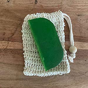 Festes Shampoo 90g Thymian und Minze im Sisalsäckchen (10cm x 19cm)