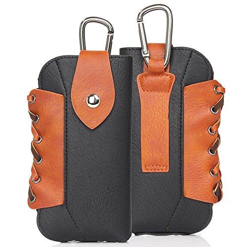 DAYNEW für 5.5 Zoll Universal-PU-Leder Hüfttasche Handytasche Tasche Smartphone Samsung Galaxy A6+/J7 Duo/ J7 Prime 2/J7 Pro-Schwarz