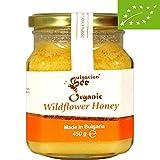 450 g Miel de flores silvestres y hierbas orgánicas, Certificado sin antibióticos, sin azúcar, sin calentar, sin pasteurizar, crudo, miel real BulgarianBee®