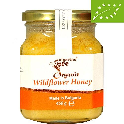450 g Miele di fiori selvatici erbaceo Biologico, Non riscaldato, non pastorizzato, crudo, direttamente dall'alveare, edizione limitata, miele autentico bulgaro (UE)