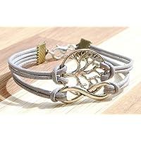 Infinity und Lebensbaum - Freundschafts Lederarmband grau/silber, 16-17cm, handmade