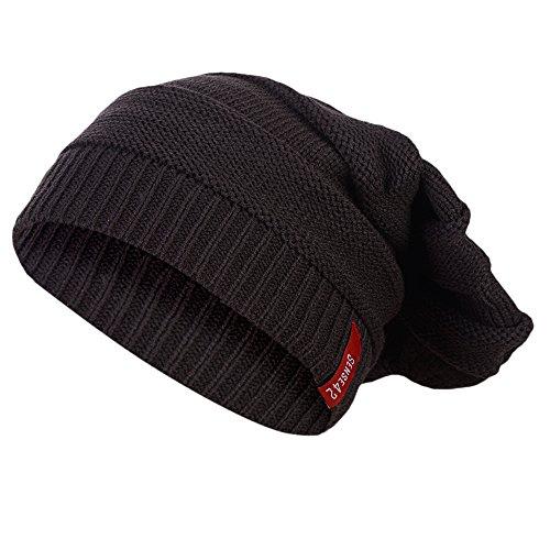 Sense42 | Long Beanie Mütze | Lange Mütze für Damen und Herren | in schwarz, dunkelgrau, hell grau, braun | mit Streifen Strick