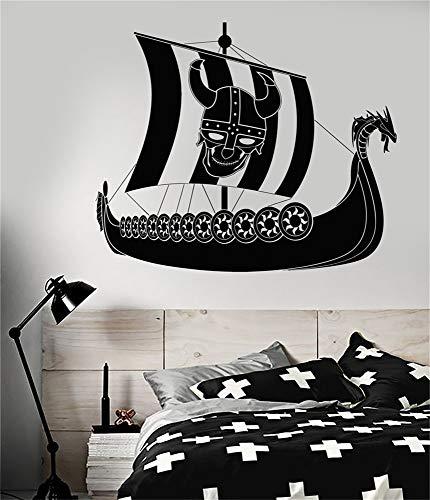 Vinilo Arte de la pared Citas inspiradoras y refranes Decoración para el hogar Etiqueta de la etiqueta Vikingo Barco pirata Sailor Sailor Skull Casco con cuernos