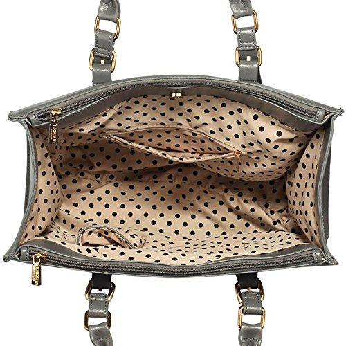 TrendStar Frauen Neuen Entwurfs Handtaschen Damen Leder Schulter Beutel Art Und Weisetote Large Mit Abnehmbarer Tasche (A - Burgund) D - Grau/Weiß