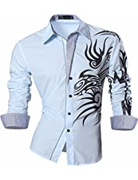Jeansian Uomo Camicie Maniche Lunghe Moda Men Shirts Slim Fit Causal Long Sleves Fashion 2028